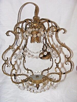 Vintage French? Gilded Bronze Ormolu Rococo Birdcage Chandelier, Ceiling Light