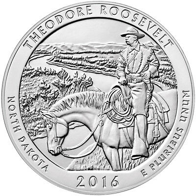 2016 Theodore Roosevelt 5 oz. Silver ATB America the Beautiful BU Coin SKU42421