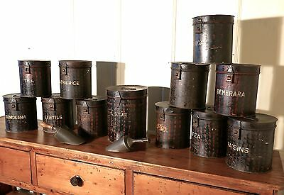 12 Large Victorian Grocers Tolewear Canisters and Tins with Scoops