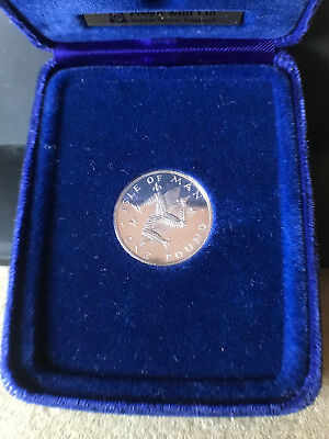 SOLID SILVER 1978 Isle of Man ONE POUND Proof Crown and official box