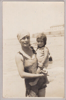 Vintage Real French Photo Postcard - Mother And Child At Beach - Swimming Hats