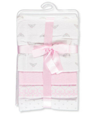 Luvable Friends Baby Girls' 4-Pack Receiving Blankets