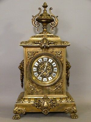 Vintage FRENCH VICTORIAN Style BRONZE Brass LION BUST Old CLAW FOOT MANTEL CLOCK