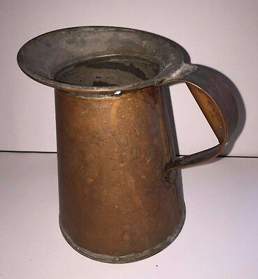 Antique Primitive Copper and Tin Marked 1 Pint Pitcher Tankard Mug
