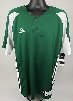 NEW Adidas Mens ClimaLite Baseball Jersey Forest Green White Size L NWT