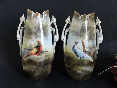 Rare Art  Nouveau pair of  RS Prussia Vases  with pheasants