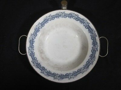 """Antique - Hot Water Warming - Porcelain Metal - Tray - Plate - Bowl - 9"""" Across"""