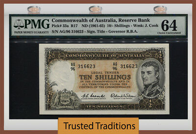 TT PK 33a (1961-65) COMMONWEALTH OF AUSTRALIA 10/- SHILLINGS PMG 64 CHOICE UNC!