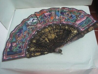 Antique Chinese Lacquer Applied 100 Faces Handpainted Fan