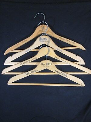 Vintage - Wooden Clothes Hangers - Hull - Cabana - Hilton - St Francis Hotels