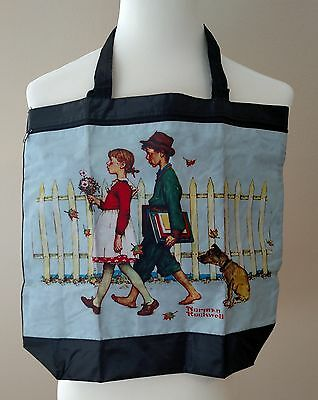 Norman Rockwell Walk to School Tote Bright Two Straps Nylon Hook Loop Closure