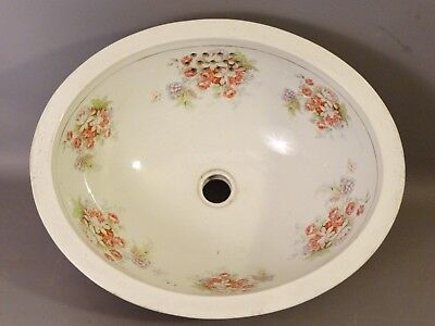 Ca. 1900 Antique ESTATE SALVAGE Floral ENAMEL Painted PORCELAIN Old SINK INSERT
