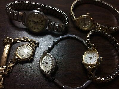 REPAIR Lot of 5 Vintage Ladies Mechanical Watches - Orvin Helbros Parker Lucerno