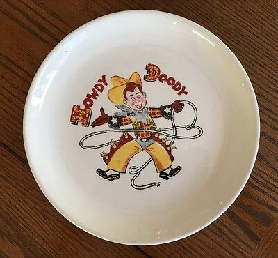 """Howdy Doody Plate 8.5"""" Taylor Smith And Taylor No Chips Or Cracks 1952"""