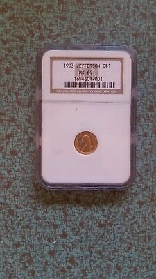 1903 Jefferson $1 Gold Coin NGC  MS 64. Never been open.