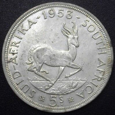 South Africa 1953 5 Shillings Km#52  Near Choice Uncirculated