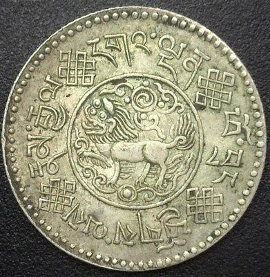 Tibet Be16-7(1933) Silver 3 Srang  Y#25  Choice Almost Uncirculated