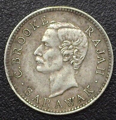 Sarawak 1913 Silver Cent  Km#8  Almost Uncirculated