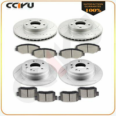 Rear Drilled And Slot Brake Rotors /& Ceramic Pads For 02-04 Honda CR-V 2.4 L4