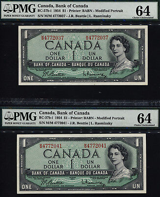 "TT PK BC-37b-i 1954 CANADA 1 DOLLAR ""QUEEN ELIZABETH II"" PMG 64 SET OF TWO NOTES"