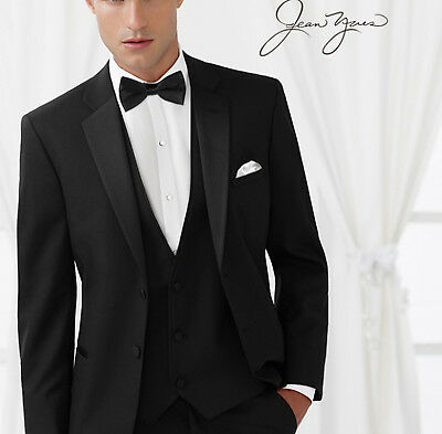 "Mens Slim Fit ""Ridge"" 100% Merino Wool Tuxedo Jacket w/ Flat Front Pants Tux Set"
