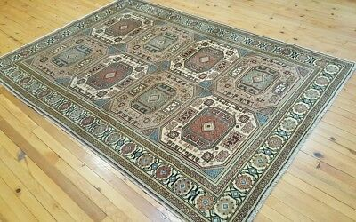 Beautiful  Geometric Patterned 1900-1939s Antique,5x7ft Wool Pile Turkish Rug