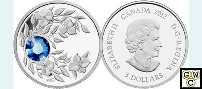 2012 Proof $3 'September(Sapphire)Birthstone' Crystal .9999 Silver Coin(12971)NT