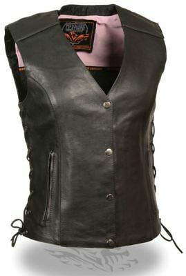 Milwaukee Leather Womens Vest w/Stud & Wings Detailing Pink