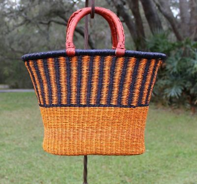 Fair Trade Africa Bolga V Shape Shopper Tote Basket~ Vibrant Orange~