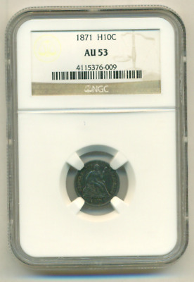 1871 Seated Liberty Silver Half Dime NGC AU-53 GORGEOUS TYPE COIN