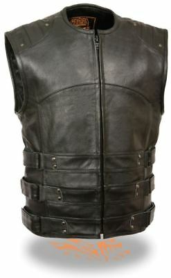 Milwaukee Leather Mens Updated Swat Style Biker Vest Black
