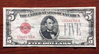 One 1928 Red Seal Five Dollar Note Circulated $5 Bill No Reserve Auction