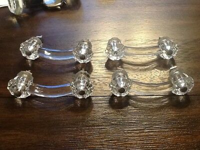 "Set of 4 antique glass drawer pulls handles dresser hardware.3"" space"