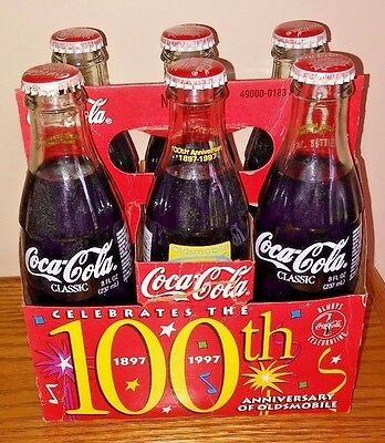 1997 Oldsmobile 100Th Anniversary 6 Pack Coca-Cola 8 Oz Bottles & Paper Carrier