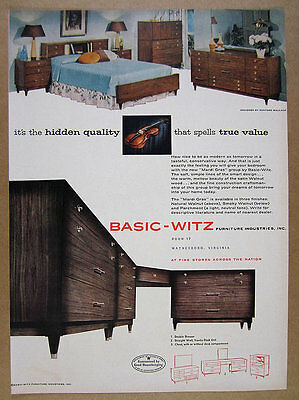 1956 Basic-Witz Mardi Gras Group Bedroom Furniture bed dresser vintage print Ad
