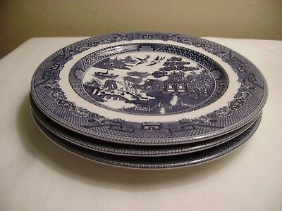 3 JOHNSON BROTHERS 7 3/4 Inch Salad/Dessert Plates Willow Blue ENGLAND