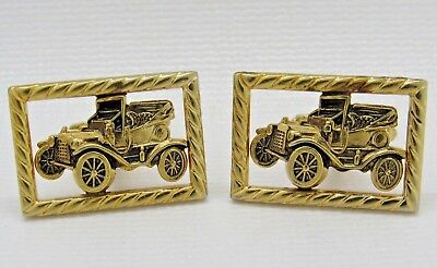 Vintage Anson Antique Car Jalopy Gold Tone Men's Gents Cufflinks