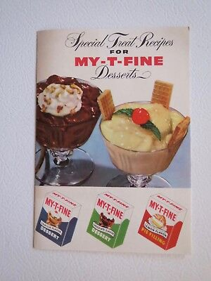 """Vintage Small Pamphlet (50s) """"Special Treat Recipes for My-T-Fine Desserts"""""""