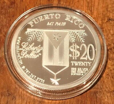 2007 Puerto Rico $20 Dollar Silver Proof Libertad Peso Round Norfed