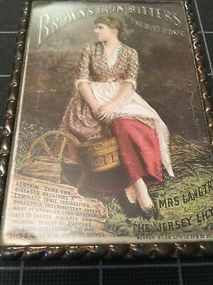 Brown's Iron Bitters Trade Card in Metal Frame with Double Glass