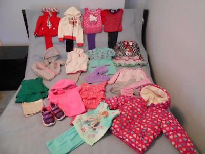 25 Pc Mixed Lot Girls Size 2T-24 Mos Used Winter Clothing + Winter Coat