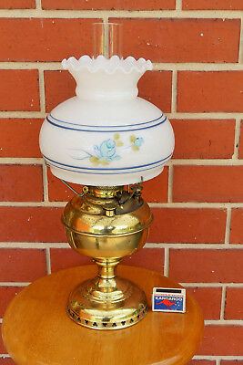 Miller Kero Lamp pretty hand painted shade, oil lamp, made in USA, kerosene lamp