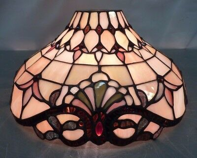 Vtg LEADED GLASS LAMP SHADE Tiffany Style Stained Jeweled Round Light Ornate