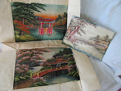 Lot of 3 Vintage Japanese Silk Needlework Landscape Fibre Art Thread Paintings