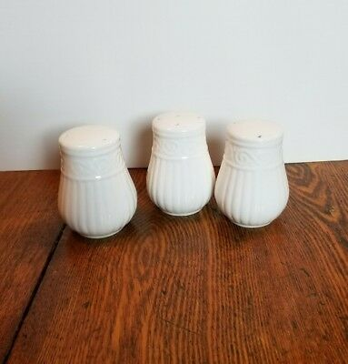 Cream / Off White / Ivory 3 Pc Salt & Pepper Set with fluted sides