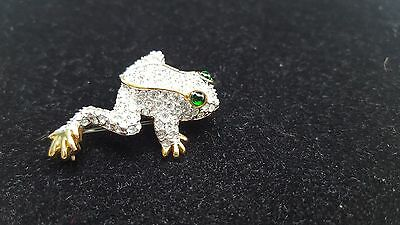 Adorable Gold Tone Rhinestone Frog with Green Eyes Brooch Pin