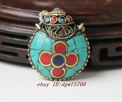 old China handmade nepal blue turquoise red coral snuff bottle