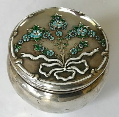 Antique Porcelain On Sterling Silver Covered Jar