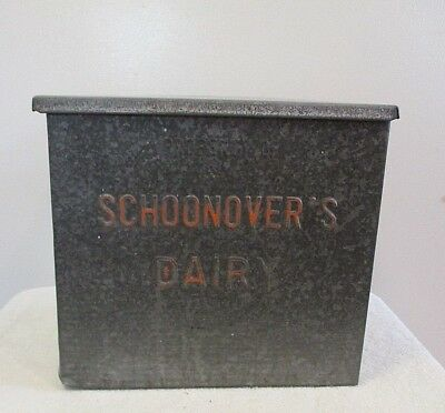Schoonover's Dairy Knoxville PA Galvinized Metal Porch Milk Bottle Box