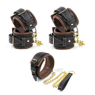 Brown Padded Leather Wrist-Ankle-Cuffs Handcuffs Collar Leash Restraint set Toy